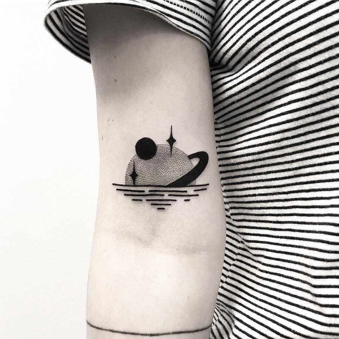 Saturnset tattoo by Pulled Poltergeist