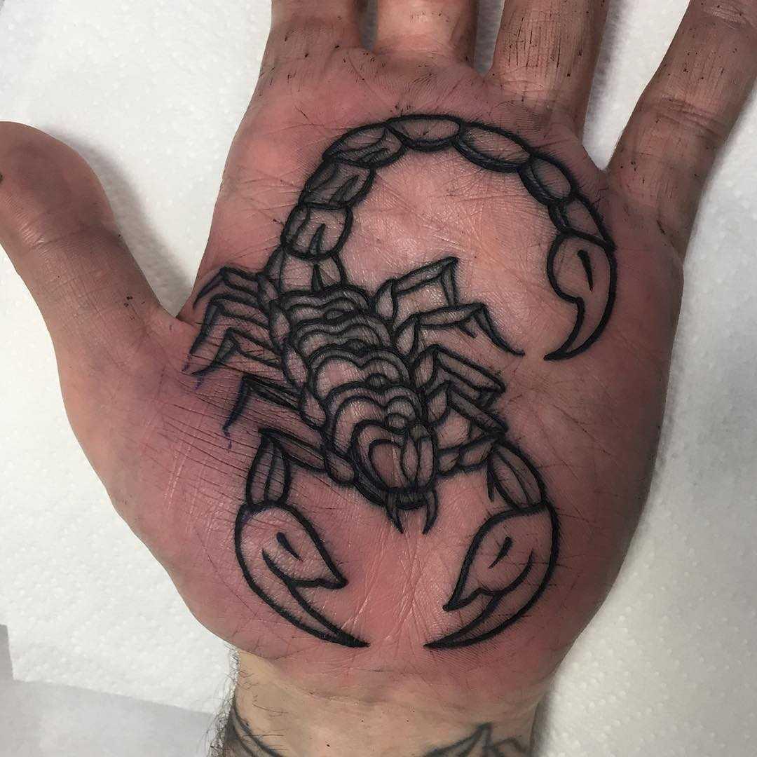 Scorpion tattoo on a palm by Luke.A.Ashley