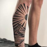 Shin landscape tattoo by Eugene Dusty Past