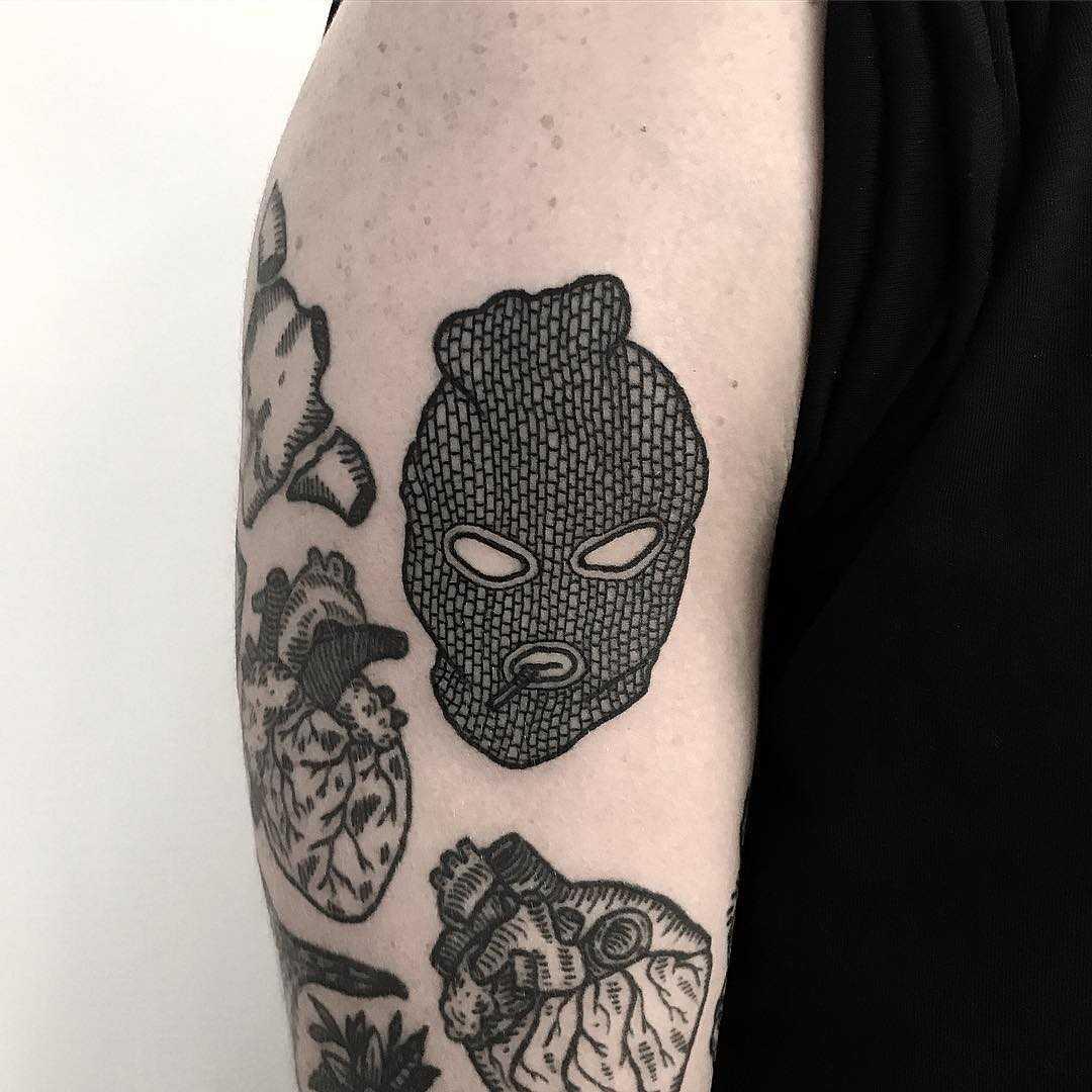 Smoking balaclava tattoo by Deborah Pow