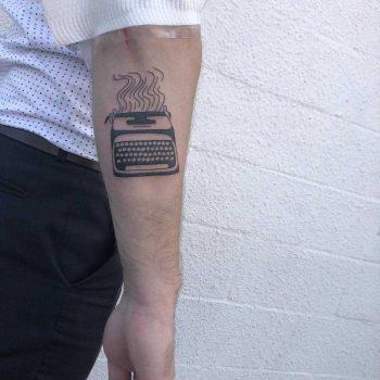 Smoking typewriter tattoo by yeahdope