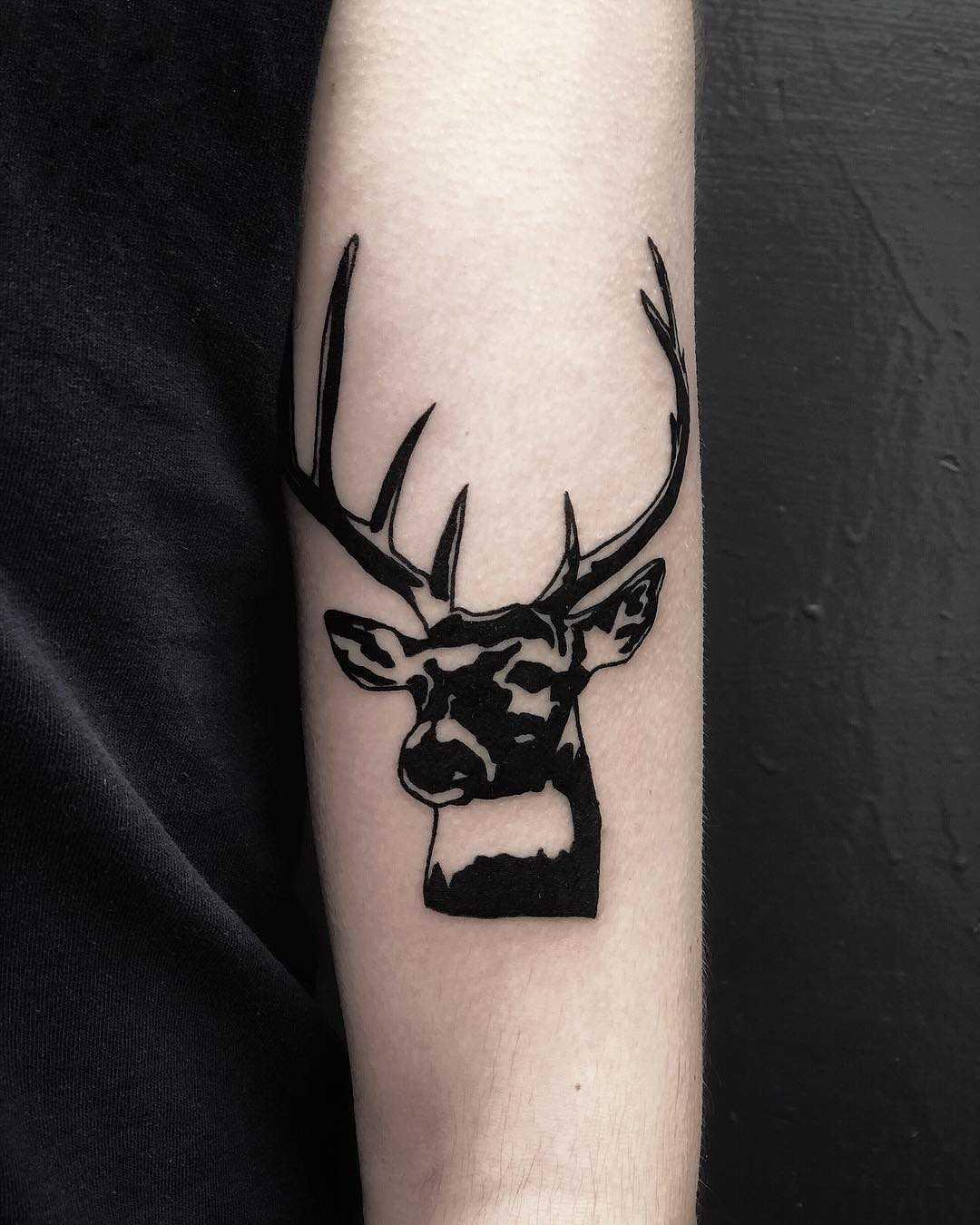 Stencil deer tattoo by Loz McLean