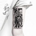 Strength Tarot card tattoo by Pulled Poltergeist