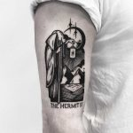 The Hermit tarot card tattoo by Pulled Poltergeist
