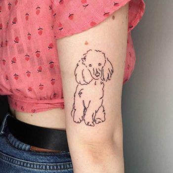 Toy poodle tattoo by Suki Lune