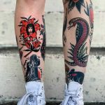 Traditional leg tattoos by Javier Betancourt