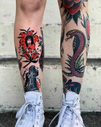 Traditional leg tattoos by Javier Betancourt