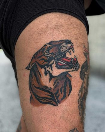 Traditional tiger tattoo by Javier Betancourt