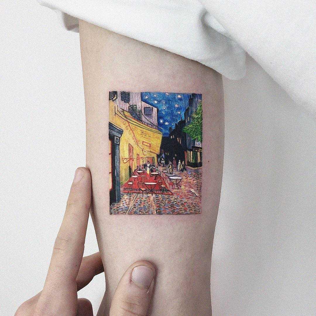 Van Gogh's Café terrace at night tattoo by Eden Kozo