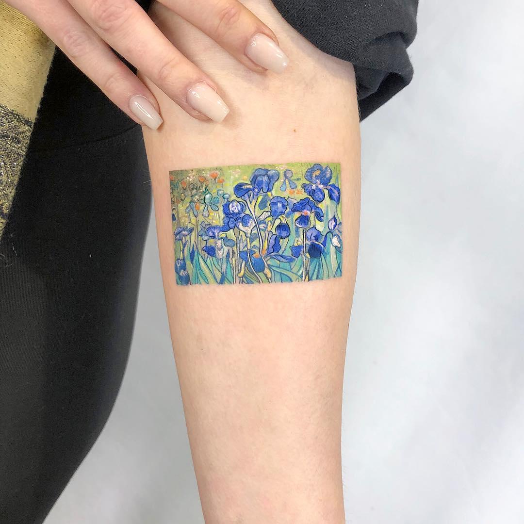 Van Gogh's irises tattooed by Eden Kozo