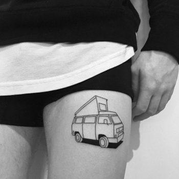 Volkswagen Transporter T3 tattoo by Chinatown Stropky