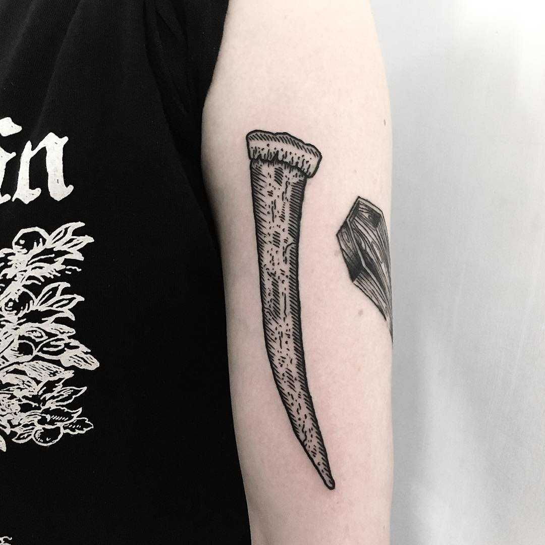 Walrus tusk tattoo by Deborah Pow
