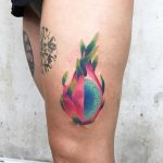 Watercolor Dragon Fruit tattoo by Valeria Yarmola