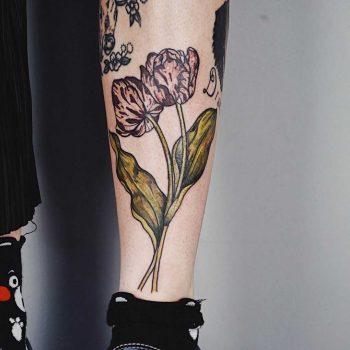 Watercolor flowers by Tattooist Jay Rose
