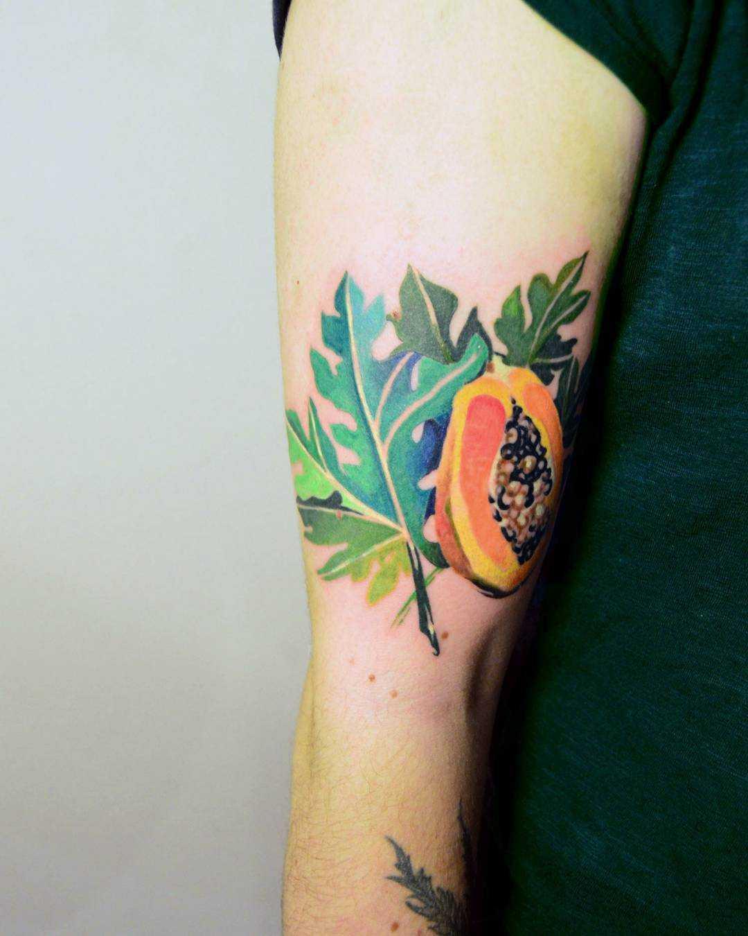 Watercolor papaya tattoo by Mavka Leesova
