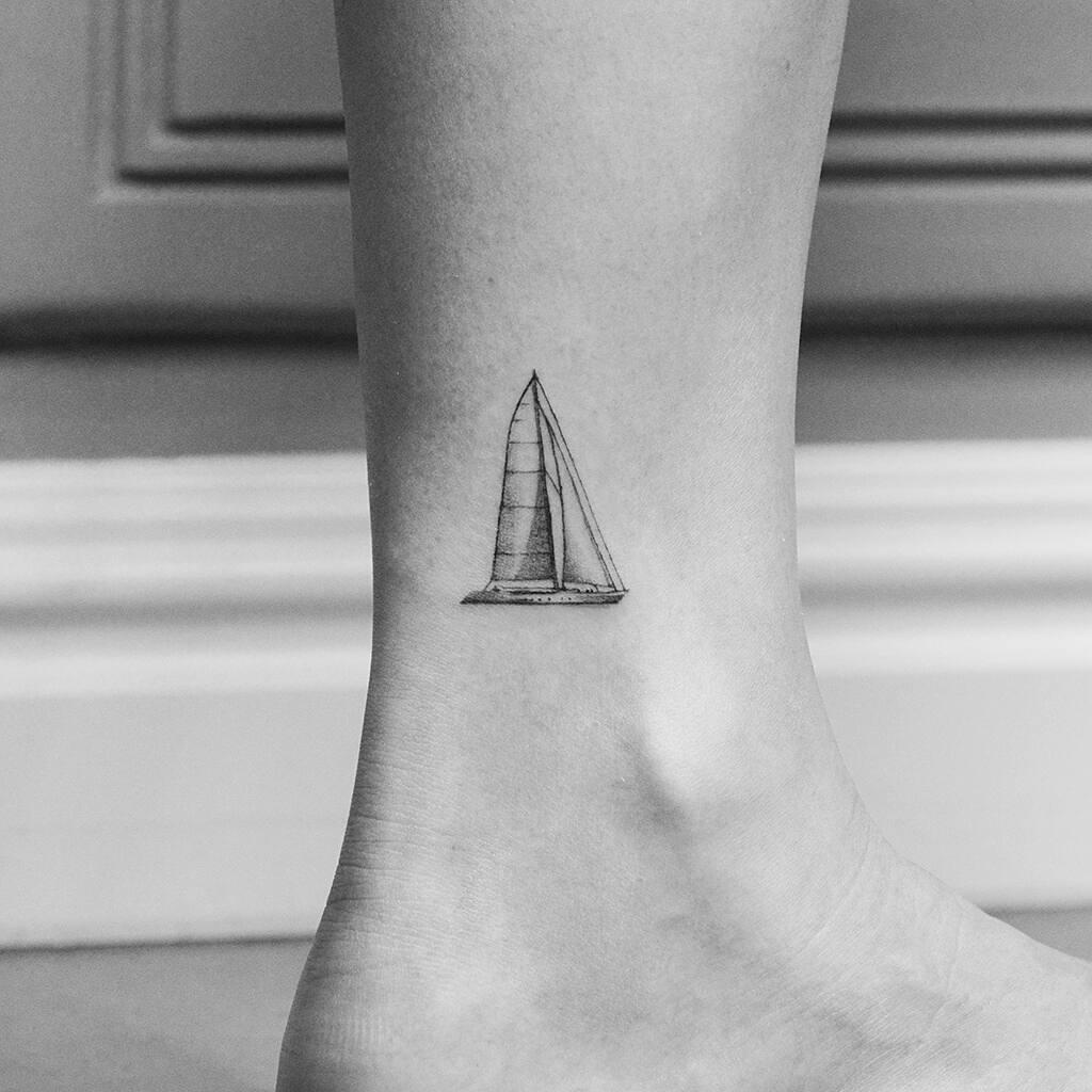 Yacht tattoo by Amanda Piejak
