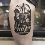 Abstract industrial landscape tattoo by Eugene Dusty Past