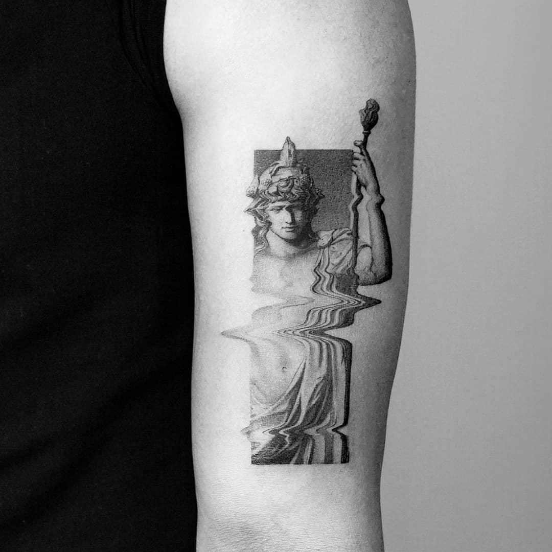 Antique glitch effect sculpture tattoo by Amanda Piejak