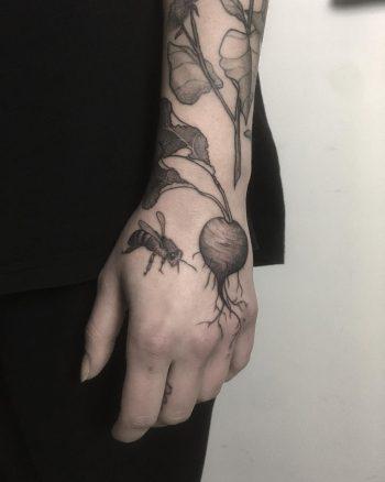 Beet and bee by tattooist Spence @zz tattoo