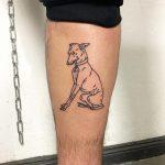 Best friend on a shin by Hand Job Tattoo