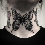 Black butterfly on a neck by Pulled Poltergeist