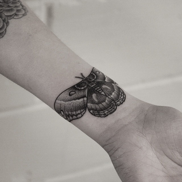 Blackwork moth tattoo by Oliver Whiting