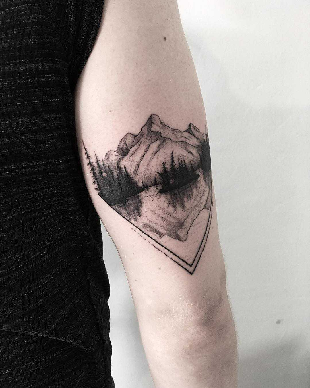 Blackwork mountains by tattooist Spence @zz tattoo