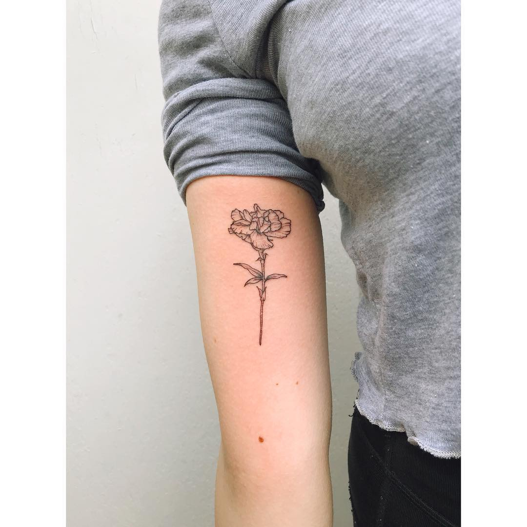Carnation flower tattoo by Zaya Hastra