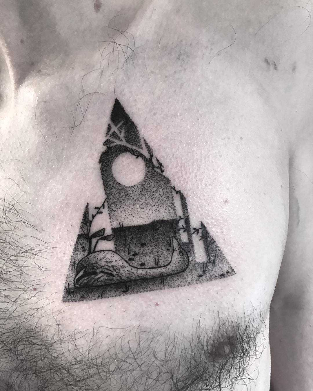 Chest tattoo by Wagner Basei inspired by Jon Klassen's art