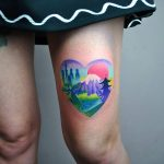 Colorful heart-shaped landscape by Valeria Yarmola