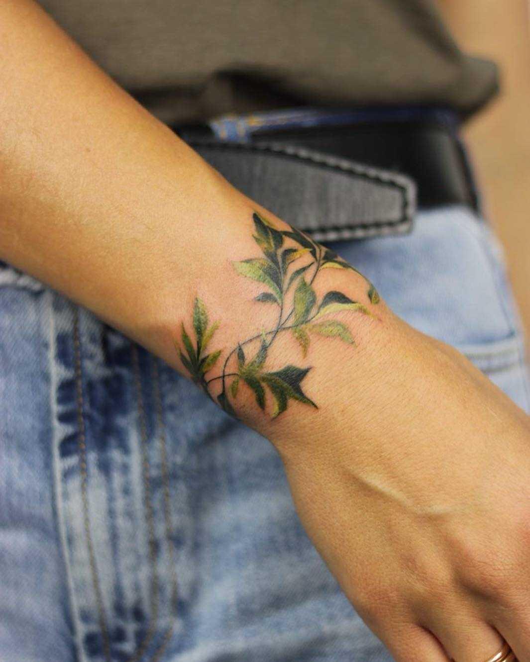 Cover up greenery tattoo by Mavka Leesova