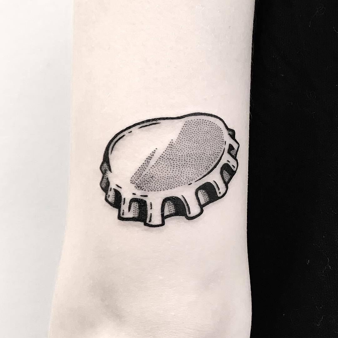 Crown cork tattoo by Pulled Poltergeist