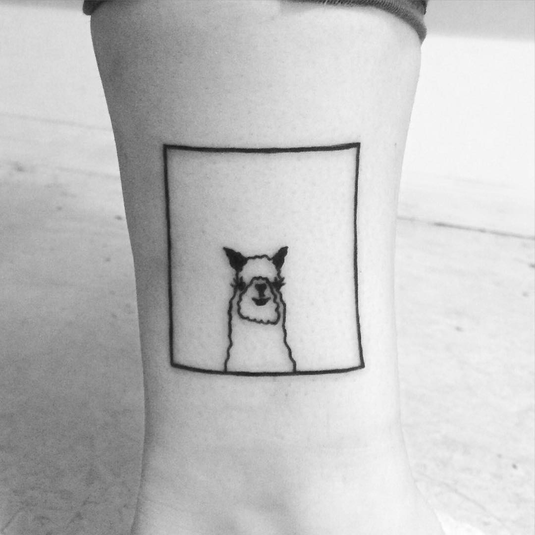 Cute llama tattoo by Chinatown Stropky