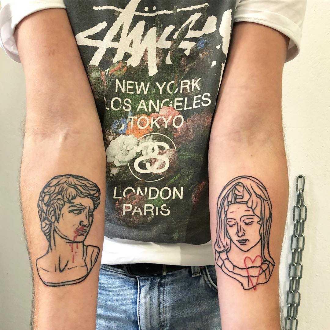 David and Madonna by Hand Job Tattoo