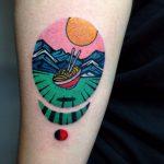 Flying ramen tattoo by Eugene Dusty Past