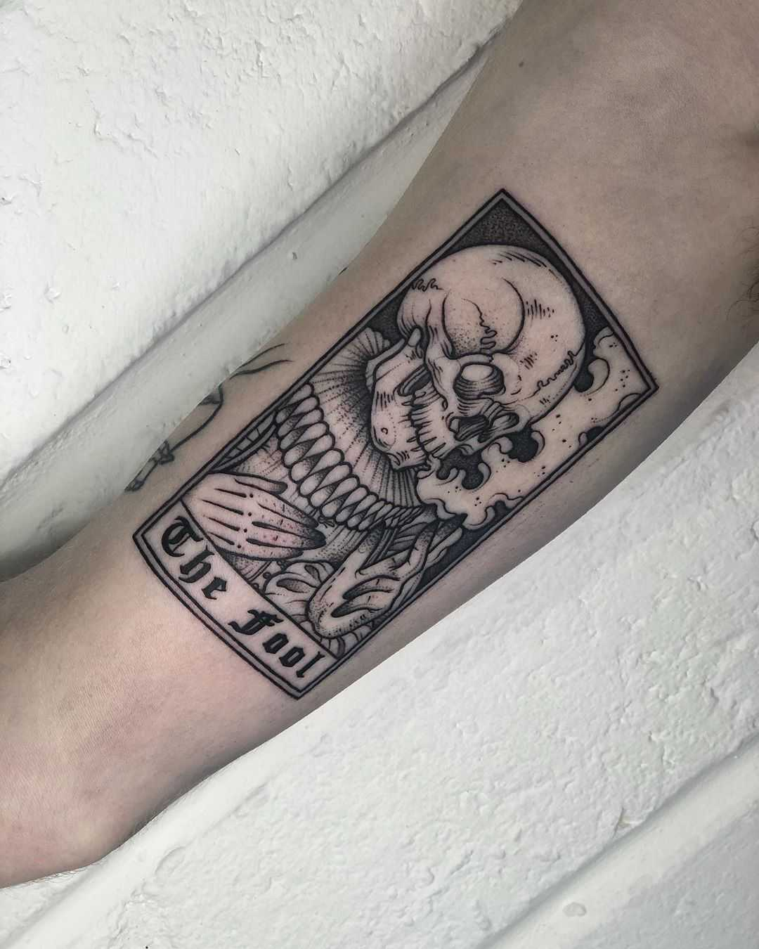 Fool Tarot card tattoo by Lozzy Bones