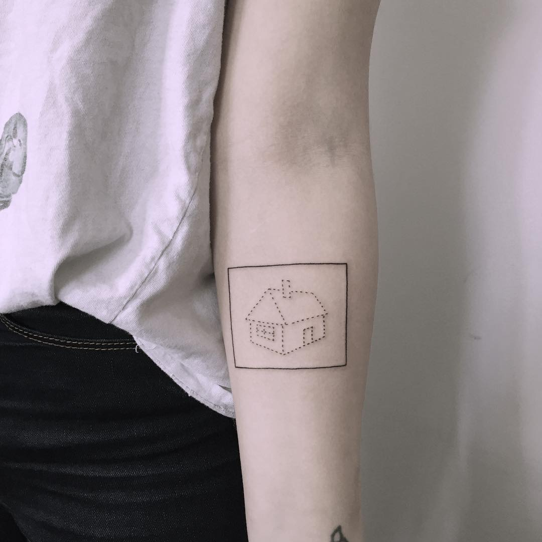 Framed house tattoo by Chinatown Stropky