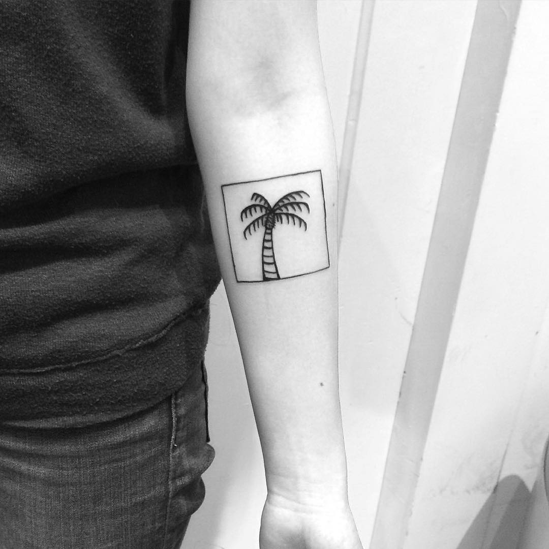 Framed palm tree tattoo by Chinatown Stropky