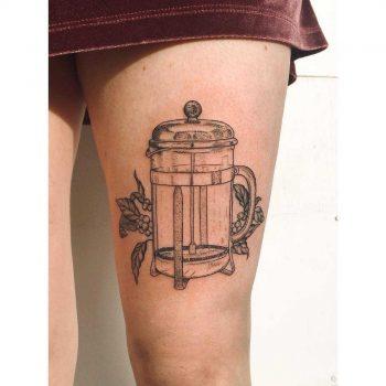French press tattoo by Zaya Hastra