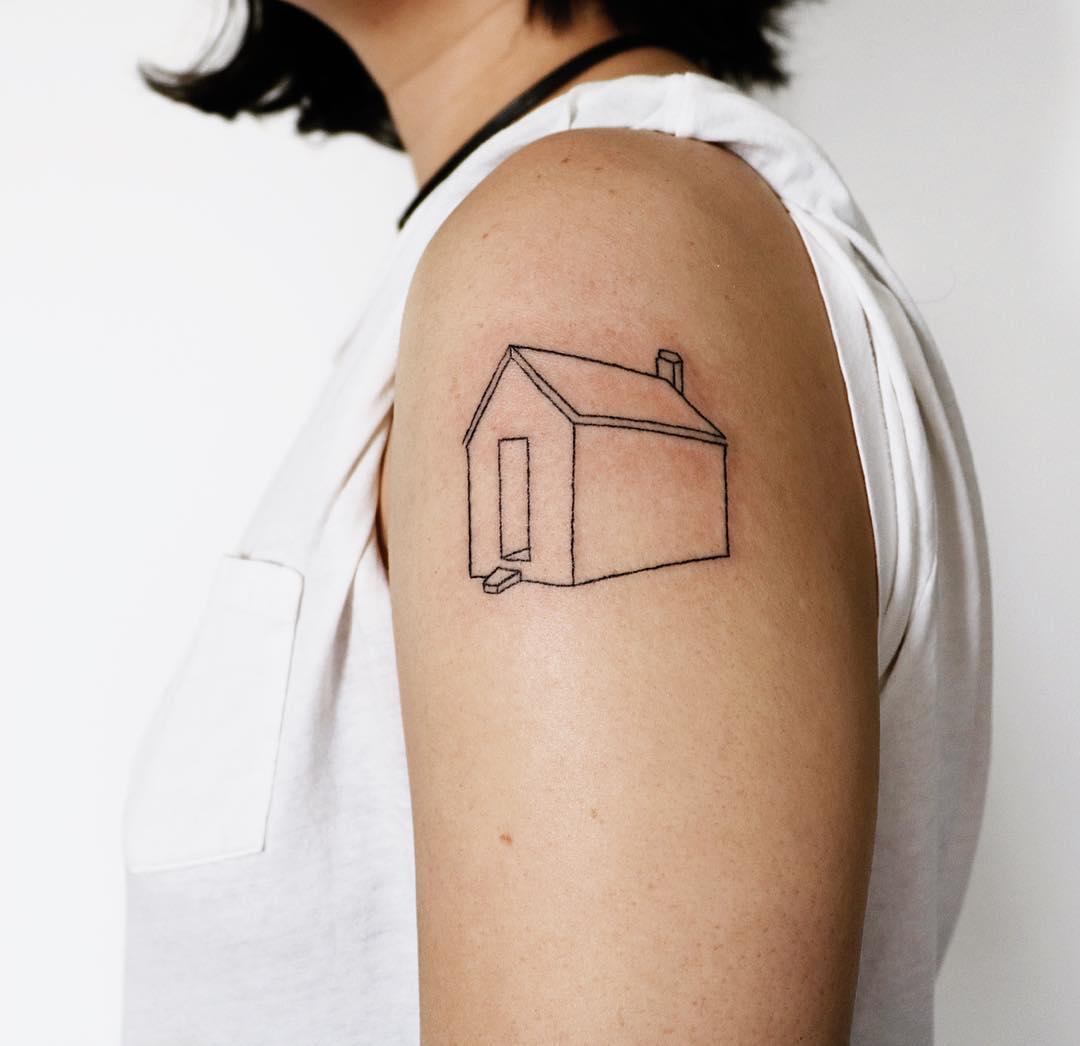 Hand-poked prototypical house tattoo️ by Kelli Kikcio