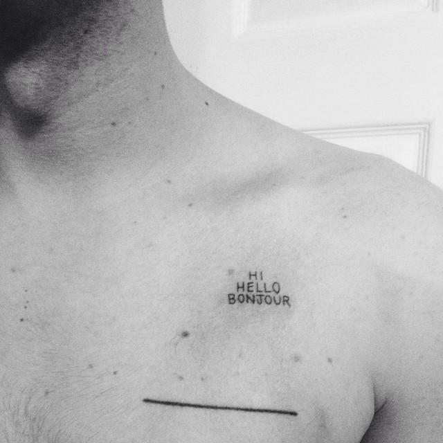 Hi, hello, bonjour tattoo by Kelli Kikcio