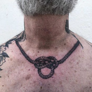Knot tattoo around the neck by Tine DeFiore