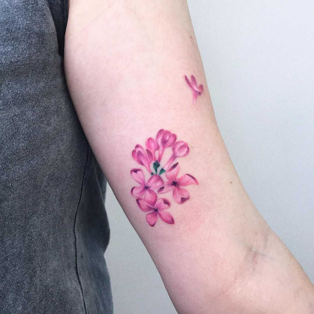Lilac tattoo by Valeria Yarmola