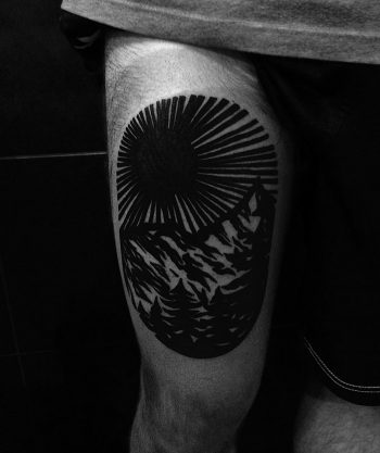 Linocut mountains tattoo by Eugene Dusty Past