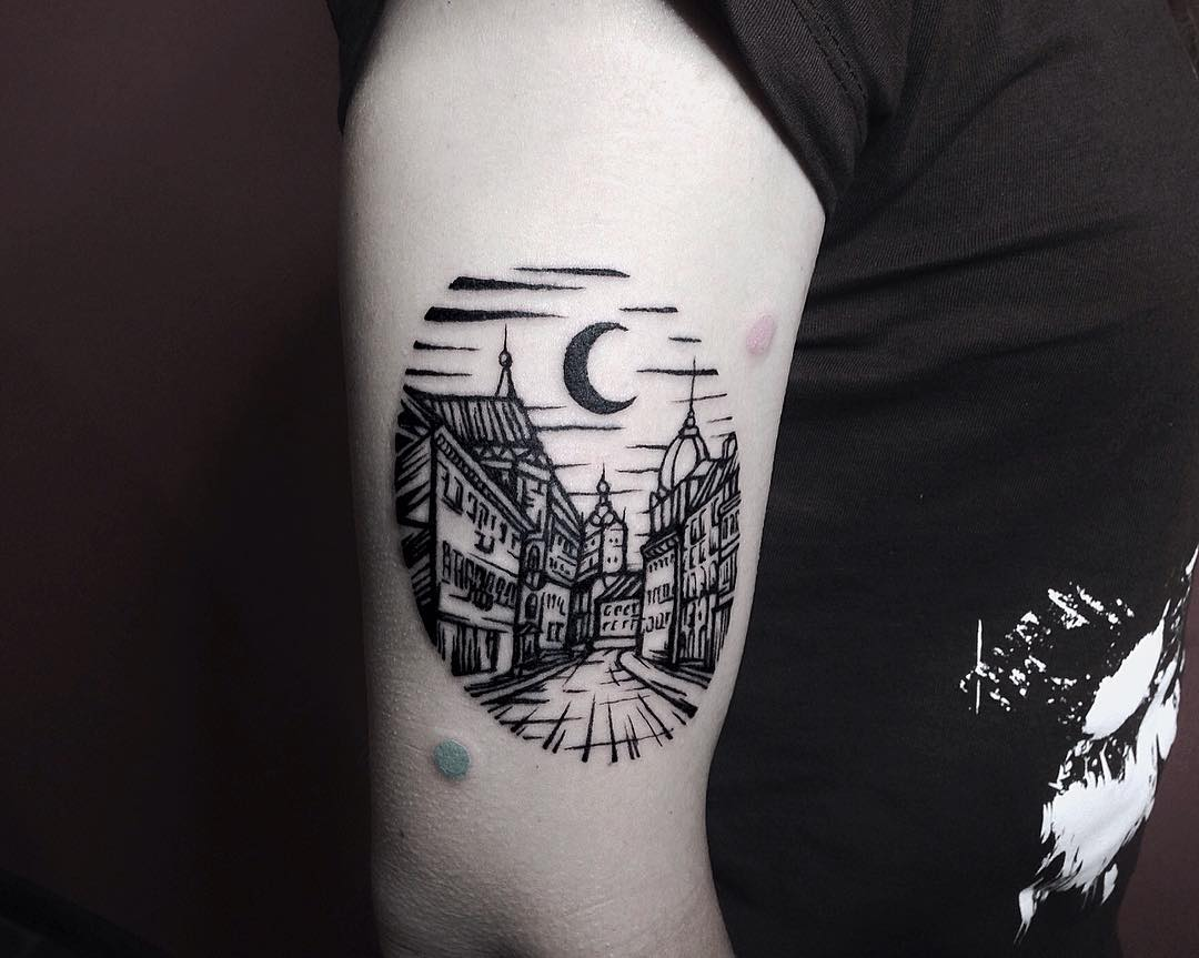 Lviv city tattoo by Eugene Dusty Past