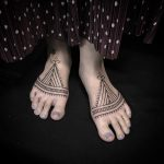 Ornamental feet tattoos by Jaya Suartika
