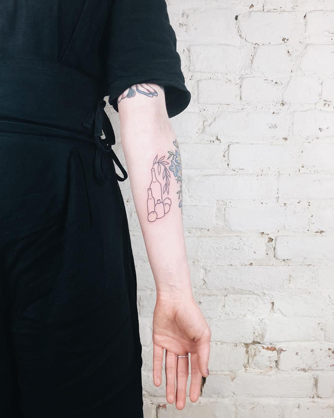 Outline still life tattoo by Kelli Kikcio