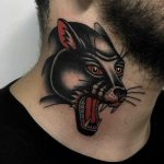 Panther tattoo on a neck by Javier Betancourt