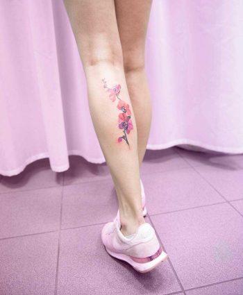 Pink watercolor flowers by Mavka Leesova