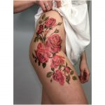 Red roses for tattoo by Mavka Leesova